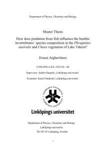 Master Thesis How does predation from fish influence the benthic Phragmites Ernest Aigbavbiere