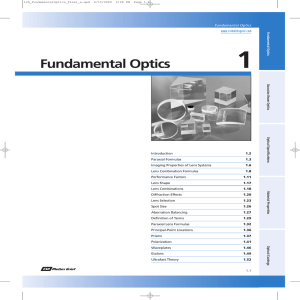 1 Fundamental Optics www.cvimellesgriot.com