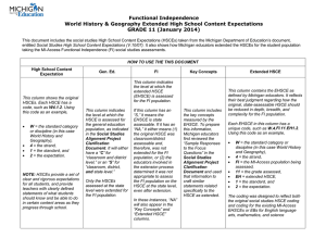 Functional Independence World History & Geography Extended High School Content Expectations