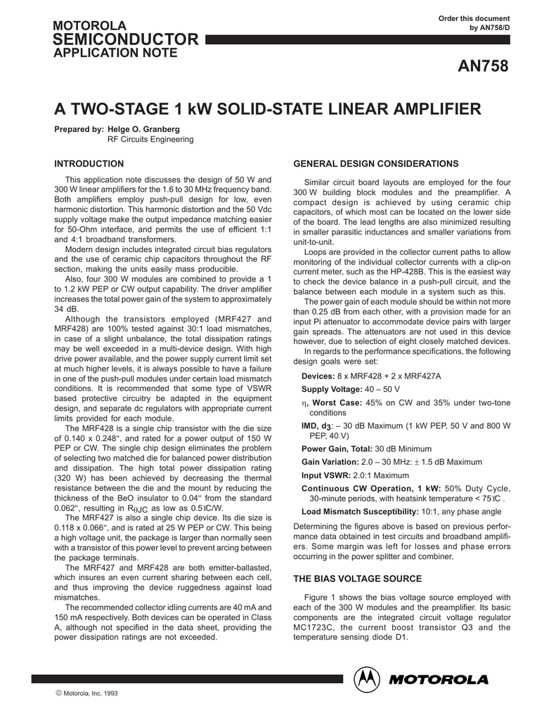 A TWO-STAGE 1 kW SOLID-STATE LINEAR AMPLIFIER INTRODUCTION GENERAL