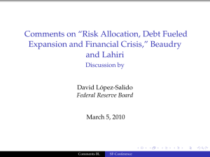 "Comments on ""Risk Allocation, Debt Fueled Expansion and Financial Crisis,"" Beaudry"