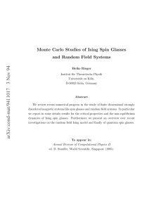 Monte Carlo Studies of Ising Spin Glasses and Random Field Systems