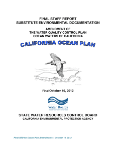 FINAL STAFF REPORT SUBSTITUTE ENVIRONMENTAL DOCUMENTATION STATE WATER RESOURCES CONTROL BOARD AMENDMENT OF