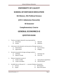 GENERAL ECONOMICS­II    UNIVERSITY OF CALICUT  SCHOOL OF DISTANCE EDUCATION