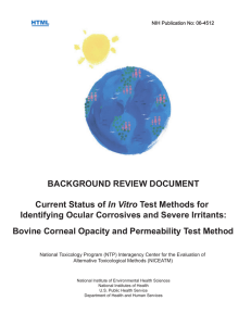 BACKGROUND REVIEW DOCUMENT In Vitro Identifying Ocular Corrosives and Severe Irritants: