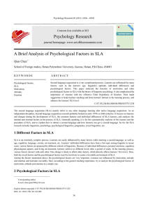 Psychology Research A Brief Analysis of Psychological Factors in SLA