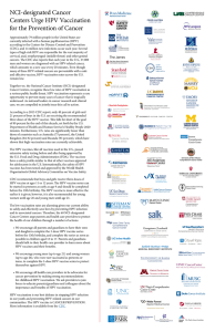 NCI-designated Cancer Centers Urge HPV Vaccination for the Prevention of Cancer