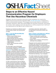 Fact Sheet Steps to an Effective Hazard Communication Program for Employers