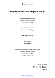 Pharmacokinetics of Propofol in Cats