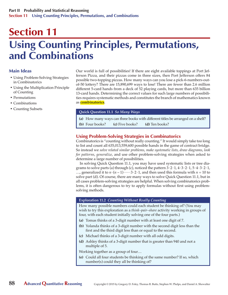 Section 11 Using Counting Principles Permutations And Combinations