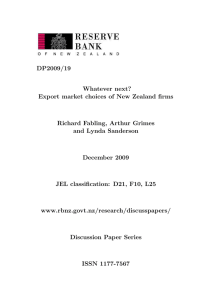 DP2009/19 Whatever next? Export market choices of New Zealand firms