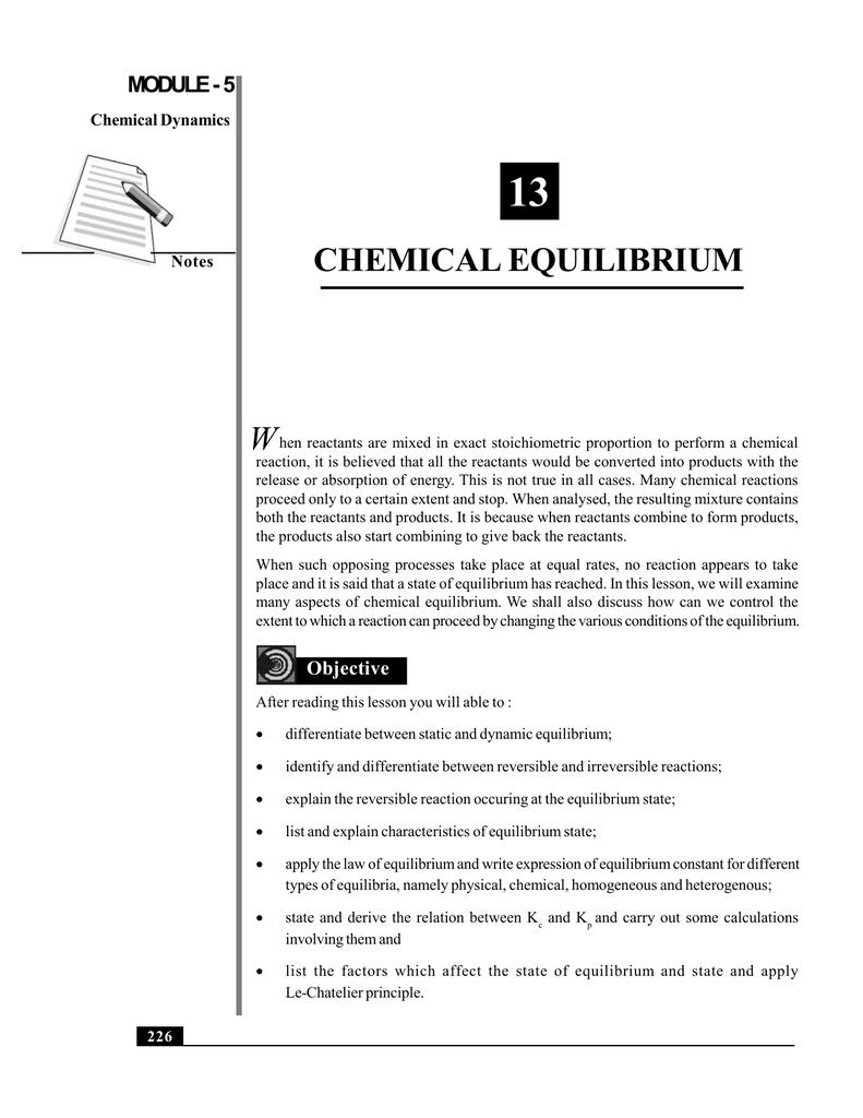 13 CHEMICAL EQUILIBRIUM W MODULE - 5