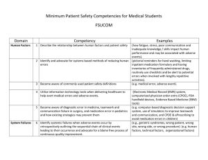 Minimum Patient Safety Competencies for Medical Students FSUCOM  Domain
