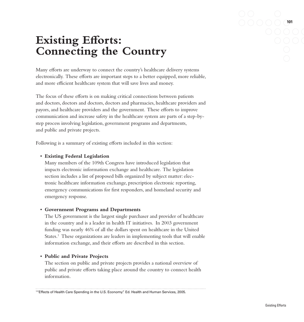 Existing Efforts: Connecting the Country