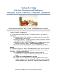 Human Services Lifetime Nutrition and Wellness Multiple Choice Science Assessment Questions