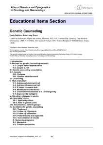 Educational Items Section Genetic Counseling Atlas of Genetics and Cytogenetics