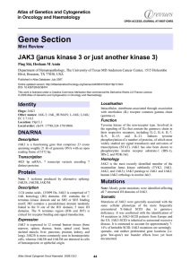 Gene Section JAK3 (janus kinase 3 or just another kinase 3)