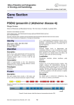 Gene Section PSEN2 (presenilin 2 (Alzheimer disease 4)) in Oncology and Haematology