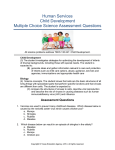 Human Services Child Development Multiple Choice Science Assessment Questions