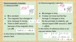Electromagnetic Induction (2) Electromagnetic Induction (1) Motional EMF ●