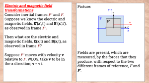 Electric and magnetic field transformations Picture: Consider inertial frames