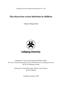 Mycobacterium avium infections in children  Johanna Thegerström