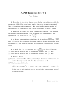 AIMS Exercise Set # 1 Peter J. Olver