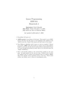 Linear Programming MSIS 651 Homework 4