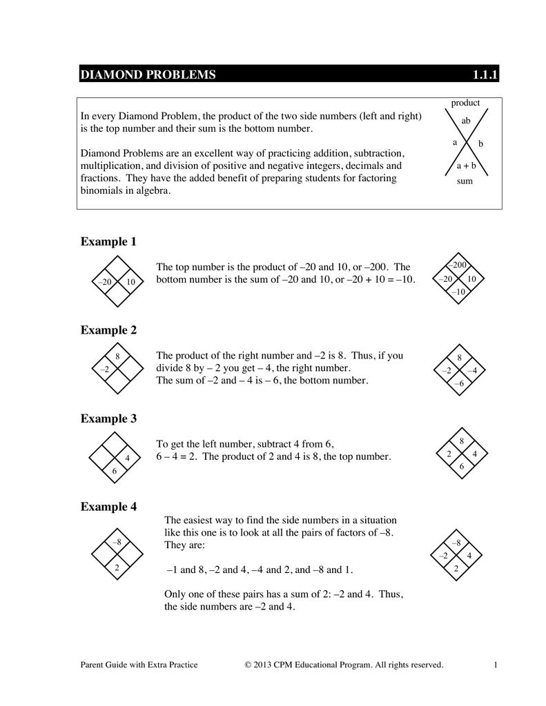 DIAMOND PROBLEMS 1 1 1