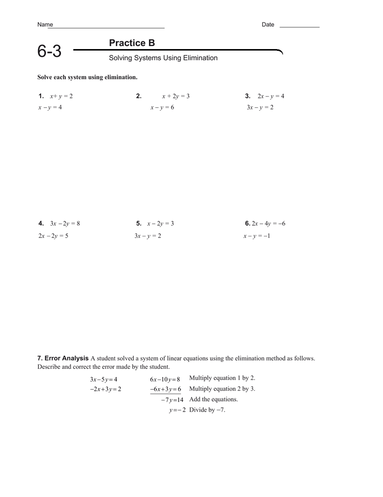 6 3 Practice B Solving Systems Using Elimination