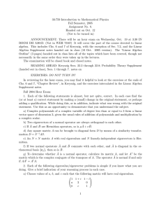 33-759 Introduction to Mathematical Physics Fall Semester, 2005 Assignment No. 8.