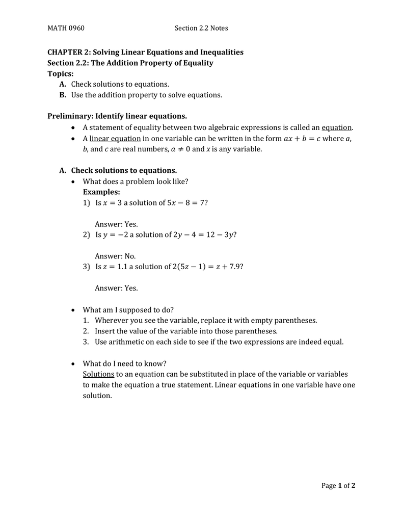 chapter 2 equations and inequalities answers