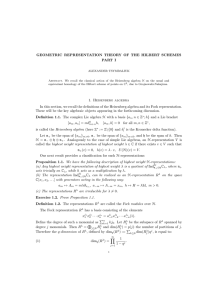 GEOMETRIC REPRESENTATION THEORY OF THE HILBERT SCHEMES PART I