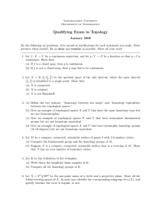 Qualifying Exam in Topology January 2006