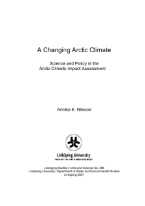 A Changing Arctic Climate Science and Policy in the