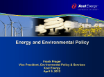 Energy and Environmental Policy Frank Prager Vice President, Environmental Policy & Services