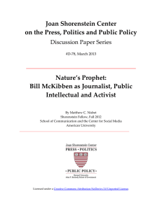 Joan Shorenstein Center on the Press, Politics and Public Policy Nature's Prophet: