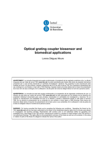 Optical grating coupler biosensor and biomedical applications  Lorena Diéguez Moure