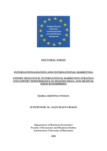 DOCTORAL THESIS INTERNATIONALISATION AND INTERNATIONAL MARKETING: EXPORT BEHAVIOUR, INTERNATIONAL MARKETING STRATEGY