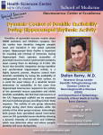 Special Seminar Dynamic Control of Dentritic Excitability During Hippocampal Rhythmic Activity