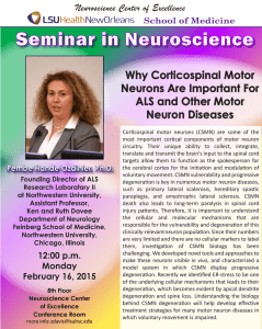 Seminar in Neuroscience Why Corticospinal Motor Neurons Are Important For