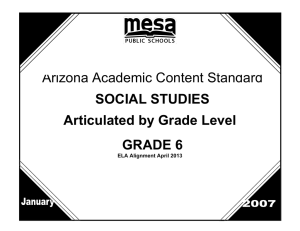 Arizona Academic Content Standard SOCIAL STUDIES Articulated by Grade Level