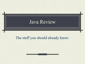 Java Review The stuff you should already know.
