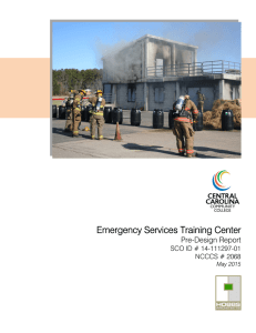Emergency Services Training Center Pre-Design Report SCO ID # 14-111297-01