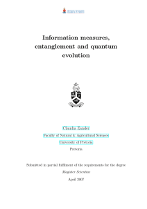 Information measures, entanglement and quantum evolution Claudia Zander