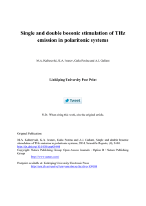 Single and double bosonic stimulation of THz emission in polaritonic systems
