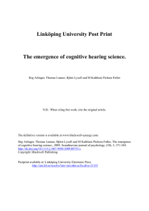 Linköping University Post Print The emergence of cognitive hearing science.