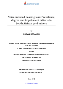 Noise-induced hearing loss: Prevalence, degree and impairment criteria in