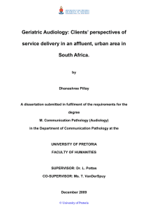 Geriatric Audiology: Clients' perspectives of South Africa.