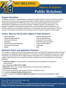 Public Relations Master of Science MSU BILLINGS Program Description